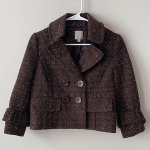 Nordstrom Halogen Brown Tweed Cropped Peacoat XS